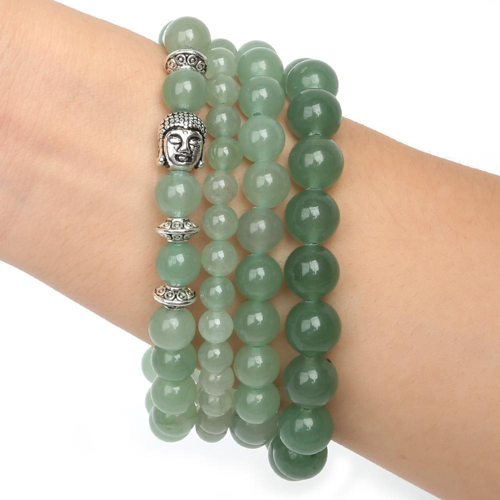 Лидер продаж 6 мм/8 мм/10 мм браслеты из натурального камня с зеленой авантюриной с бусинами эластичный веревочный для мужчин и женщин, модные ...
