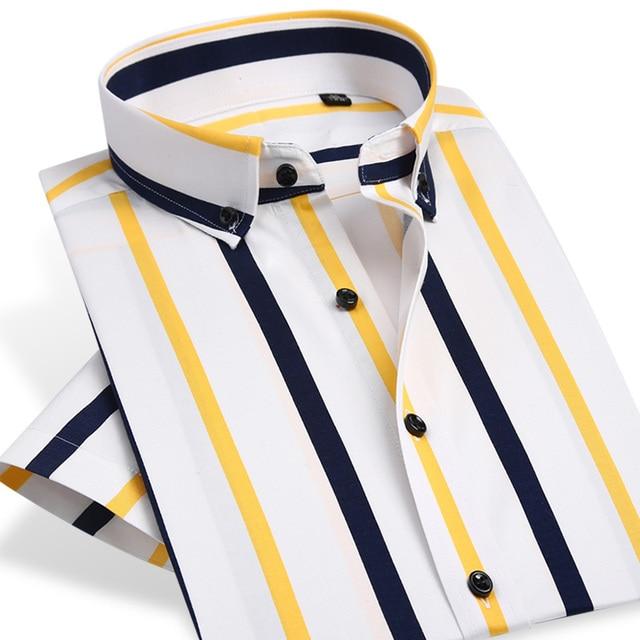 08d928b334 Colorido Stripe Camisas de Manga Curta Verão Quente Homens Se Vestem Camisa  de Botão Para Baixo