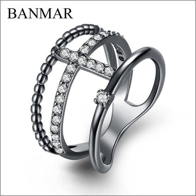 BANMAR Female Purple Ring Fashion White Black Gold Filled Jewelry Vintage Wedding Rings For Women