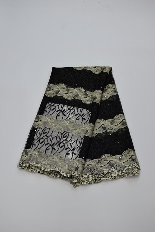 Tissu africain brodé de dentelle de maille tissu français de dentelle de filet 5yds/pc pour la robe de mariée 16. A20 - 3
