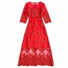 Лето 2016 новые милая, стильная О-образным вырезом Половина рукава Красный перспектива стирка Вышивка элегантный темперамент до середины икры длинное платье Для женщин