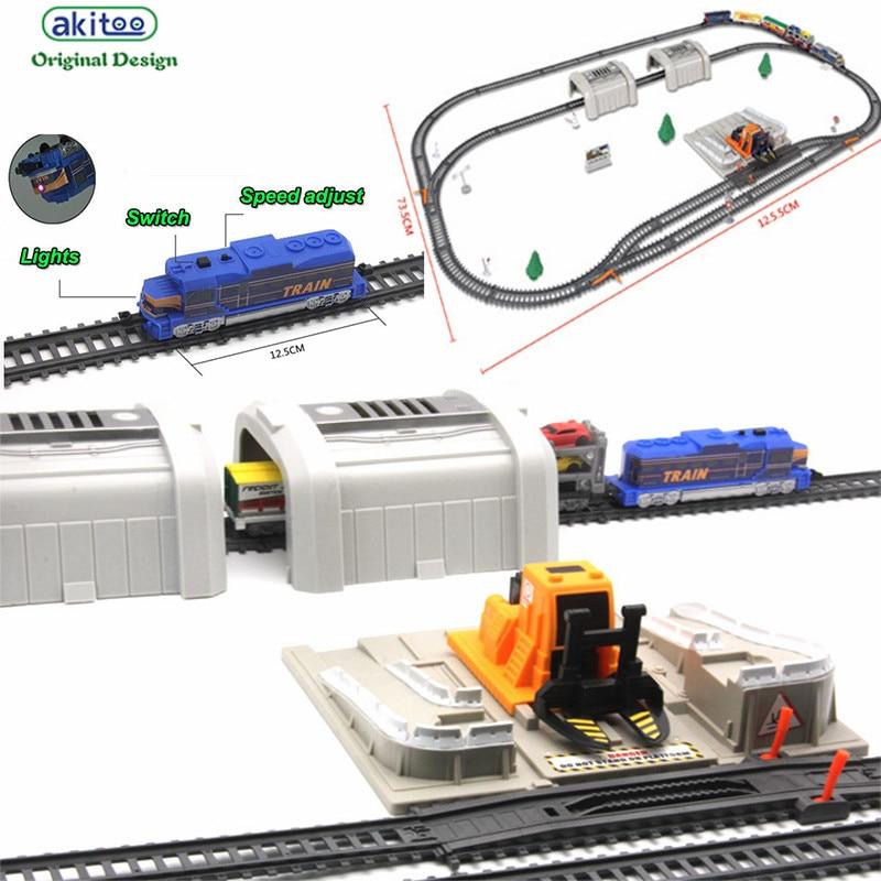 Akitoo 1024 paquet de voiture de rail léger électrique pleine longueur 549c simulation voiture station de chargement tunnel jouets éducation précoce jouet cadeau