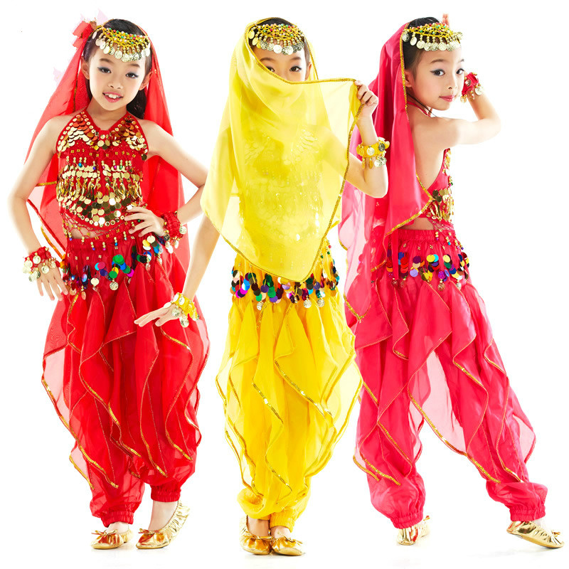 Kanak-kanak 3 Warna Belly Dance Costume Bollywood Kostum Indian Dress Bellydance Pakaian Belly Dancing Costume Sets