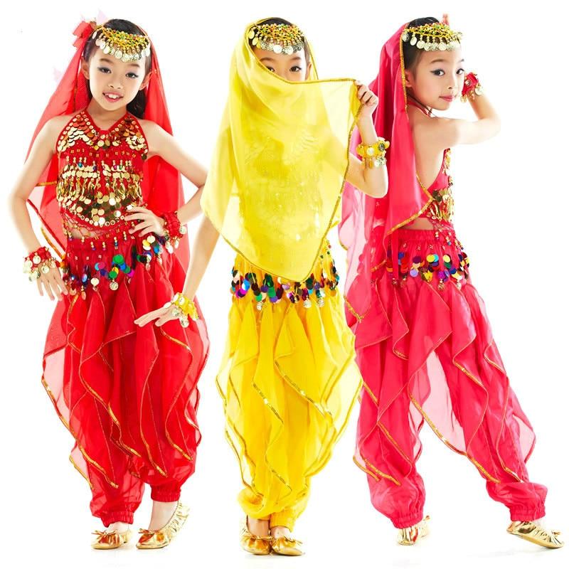 Lapsed 3 värvi kõhutantsu kostüüm Bollywoodi kostüüm India kleit Bellydance kleit kõhutantsu kostüümikomplektid