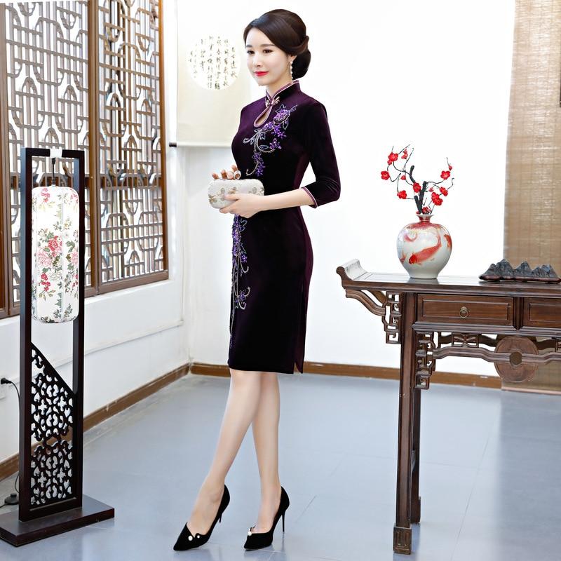 2018 Knee Length Velour Cheongsam Vintage Chinese style Handmade Beading Dress Fashion Womens Qipao Slim Party Dresses Vestido-in Dresses from Women's Clothing    3