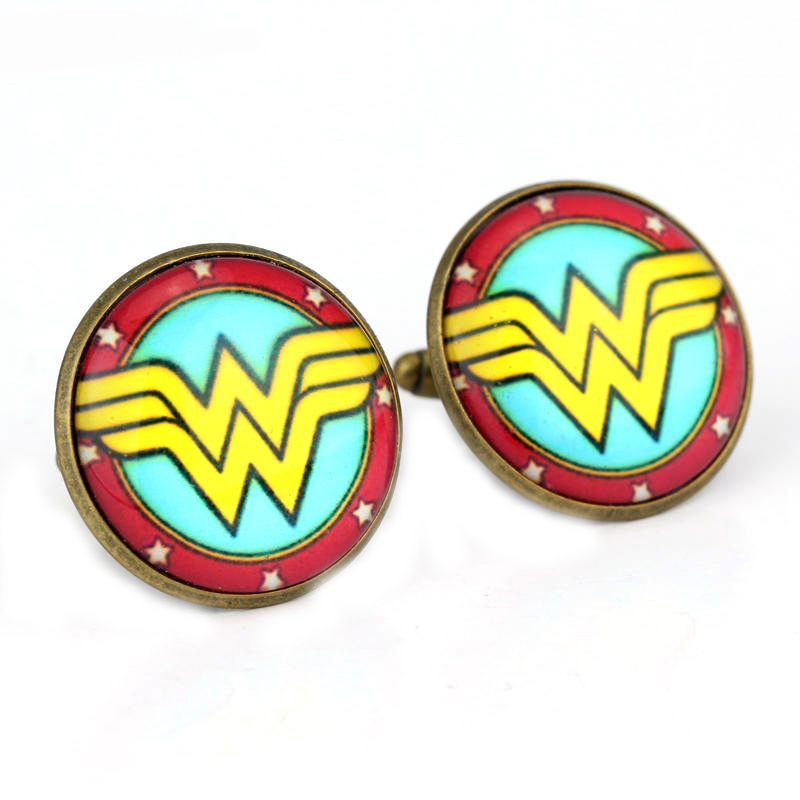 Movie Jewelry Wonder Women Jewelry Women Men Shirt Cufflink Handmade Round Glass Dome Cuff Button Design Badge Pins Gift image
