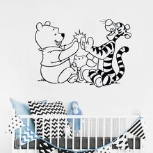 Bär Wand Aufkleber Tiger Cartoon Vinyl Aufkleber Abnehmbare Kinderzimmer Dekoration Baby Schlafzimmer Wand Vinyl Aufkleber ER63
