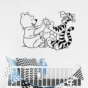 Image 1 - Niedźwiedź ścienne naklejka tygrys Cartoon naklejki winylu odpinany dekoracja pokoju dziecięcego dla dzieci sypialnia ścienne winylowa tablica naścienna ER63