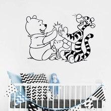 Urso Tigre Dos Desenhos Animados Do Decalque Da Parede Vinil Adesivo Removível Quarto das Crianças Decoração Do Quarto Do Bebê Decalque Da Parede Do Vinil ER63