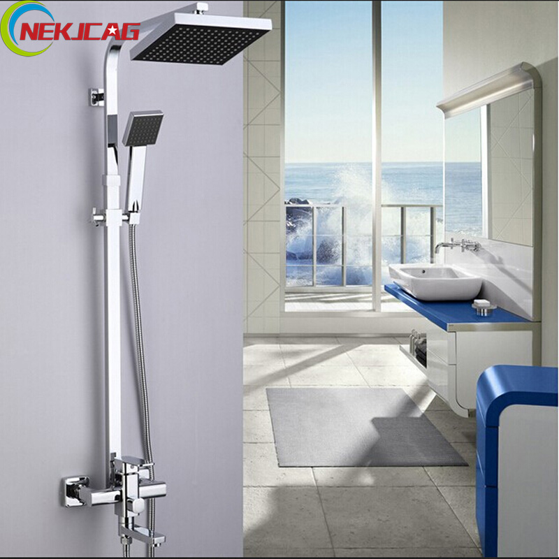Polished Chrome 8 ABS Rainfall Swivel Spout Bath Shower Faucet System Wall Mount One Handle with Handshower lotte spout клубника подушечки 23 8 гр