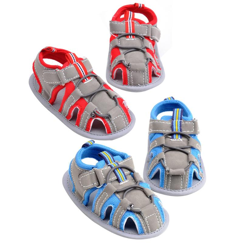 1 Pair Summer Cute Baby Boys Shoes Crib Soft Sole Canvas Shoes Breathe Freely First Walkers Buckle Anti-Slip Flat Kids Shose