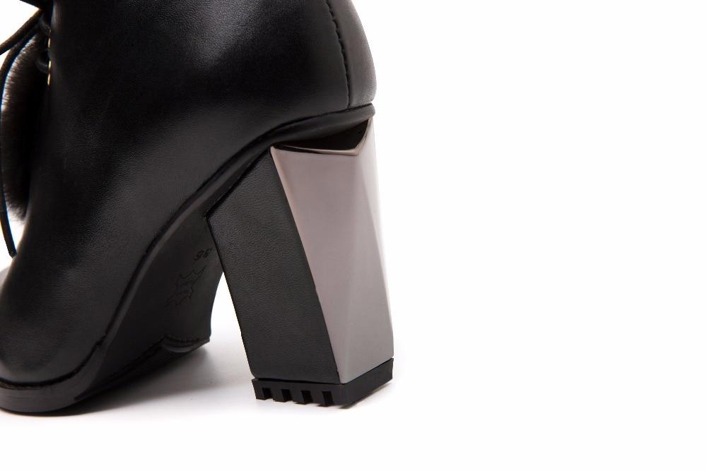 Talons Cheveux Chaussures De Bottines Mode Casual Hiver Avec Bottes Mi Base Véritable Automne Dames En Femmes Robe Cuir Vison nvUFEqw0Z