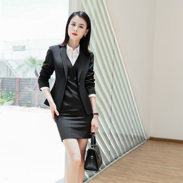 2018 Autumn Winter formal elegant female Women's Blazers Dresses Work Suits ladies office lady Work Dress Jacket Costumes Suits
