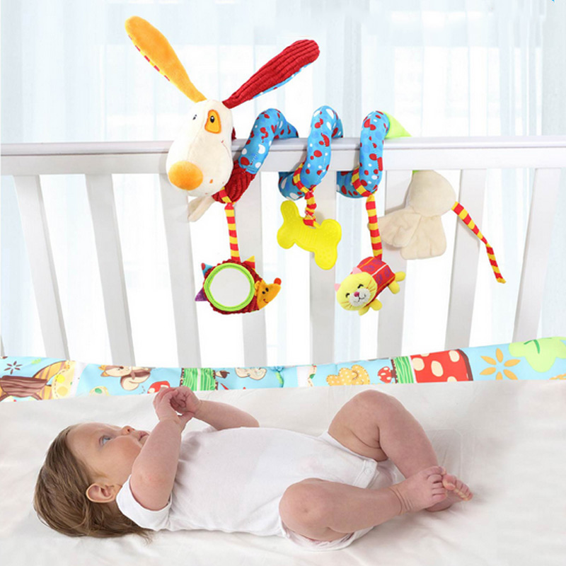 Infant Crib Revolves Around Plush Rattles Toy Cartoon Animal 0 3 Years Baby Bed Stroller Playing