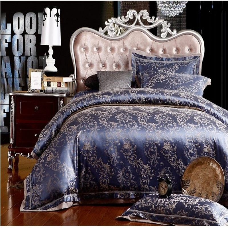 Blue Silk Cotton Jacquard Duvet Cover Queen King Size 4