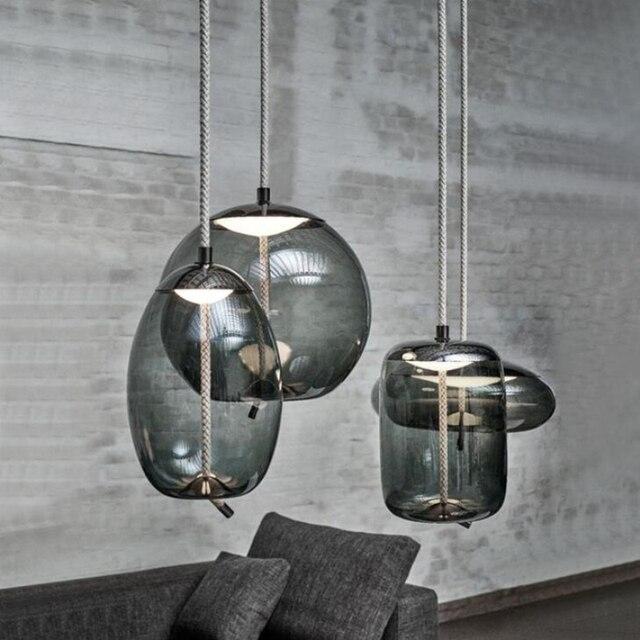 Nordic Living Room Scandinavian Pendant Lamp Art Tom Dixon Design Luminaria Deco Glass Lustre Hanging Light Fixtures