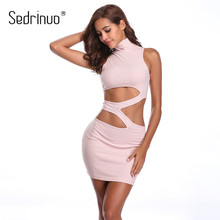 Sedrinuo 2019 Pink Dress Waist Hollow Out Bodycon Bandage High-neck Mini Dress Camisole Cut out Sexy Slim Party Dresses Vestidos