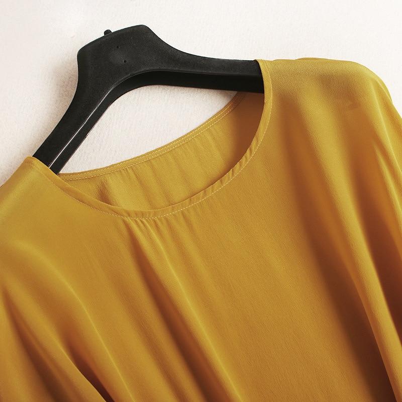 Shuchan Retro Drss 100% Chinese Silk Sashes O-neck High Quality Women Dresses 2018 Split Korean Fashion Dresses Yellow Green2816