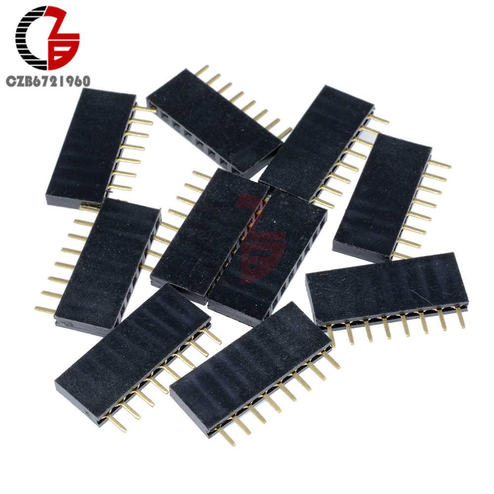 10Pcs 2.54mm 8 Pin Single Row Female Pin Header Straight Pin PCB Socket JST Connector for Arduino