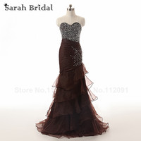 Luxury Beading Top Prom Dresses Mermaid Long Elegant Tiered Organza Evening Gowns Long Vestidos De Festa