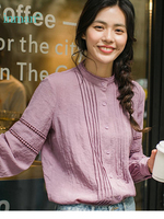 INMAN 2019 Spring Autumn New Arrival Hollow Out Decoration Lady Shirt Loose Style Office Women Blouse