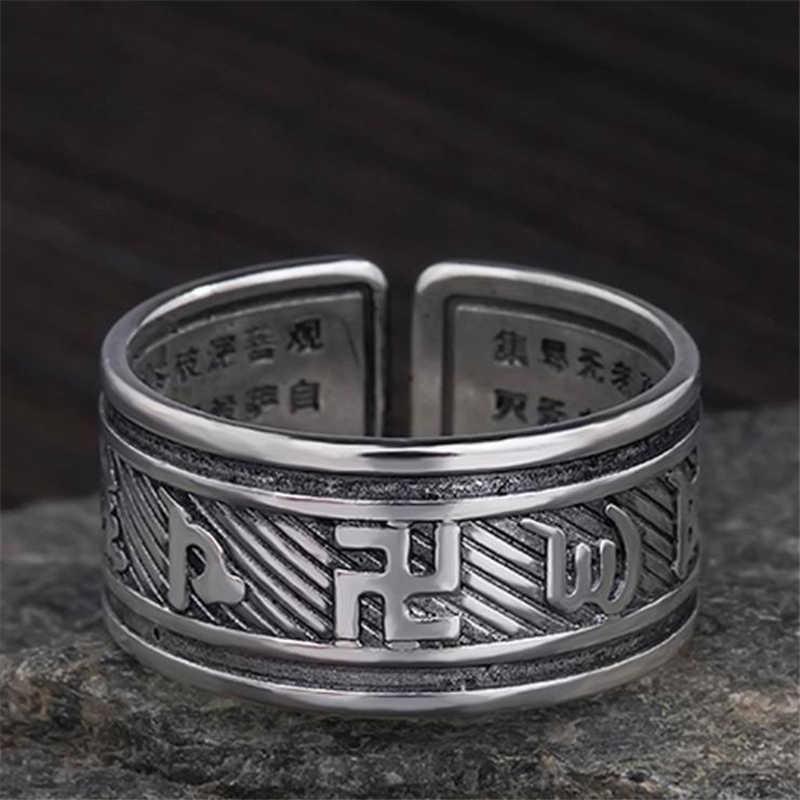 """KOFSAC Thai 925 anillos de bendición giratorios de plata para hombres mujeres joyería de la suerte """"Om Mani Padme Hum"""" Sanskrit budista anillo Mantra"""