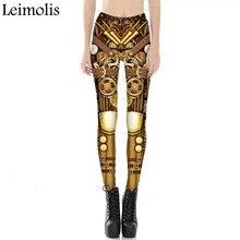 Leimolis 3D printed fitness push up workout leggings women gothic steampunk gear armor plus size High Waist punk rock pants