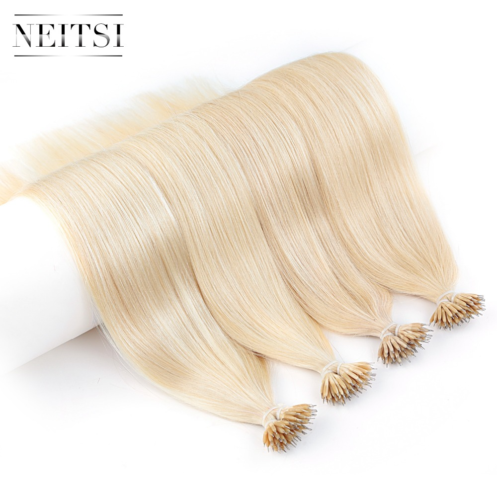 Neitsi Straight Machine Made Remy Micro Ring Beads Human Hair Extensions 20 1 0g s 100g