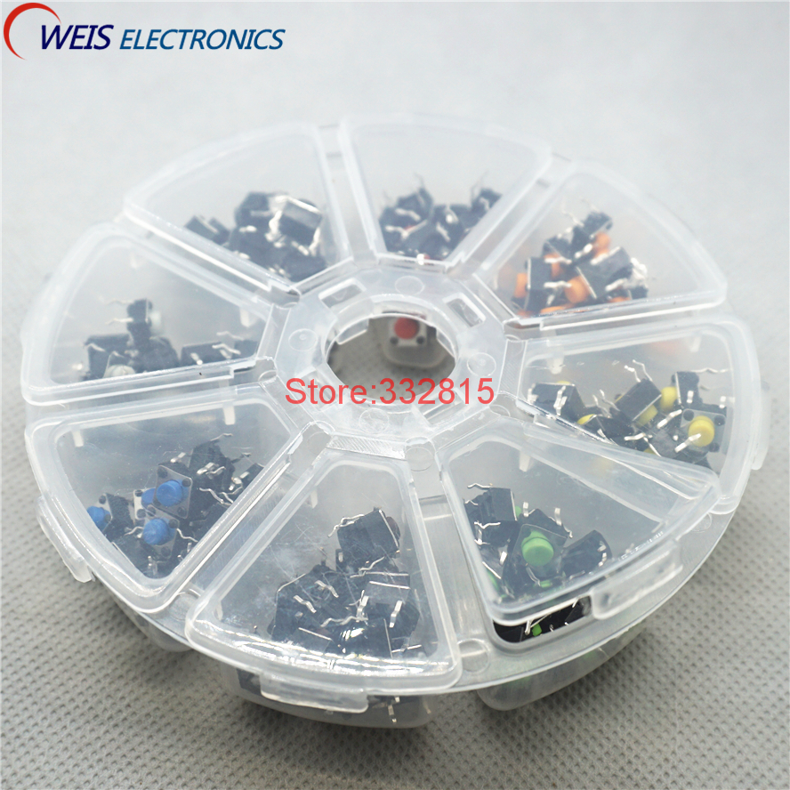 8 colors * 20pcs =160pcs 6*6*5mm 6x6x5 DIP-4 Switches Push button switch kits red yellow white black blue green orange brown ...