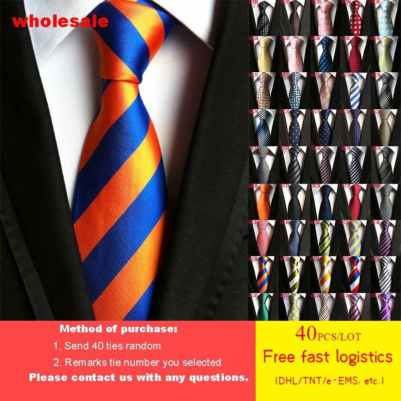 DHL/TNT Бесплатная доставка 40 шт./лот 79 стилей галстук оптовая продажа модный мужской галстук 100% шелк роскошный высокой плотности полосатый Му...