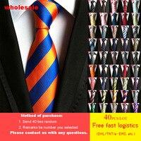 DHL/TNT Free Shipping 40pcs/lot 79 Styles Tie Wholesale Fashion Men's Tie 100% Silk luxury High Density Striped Men Neckties