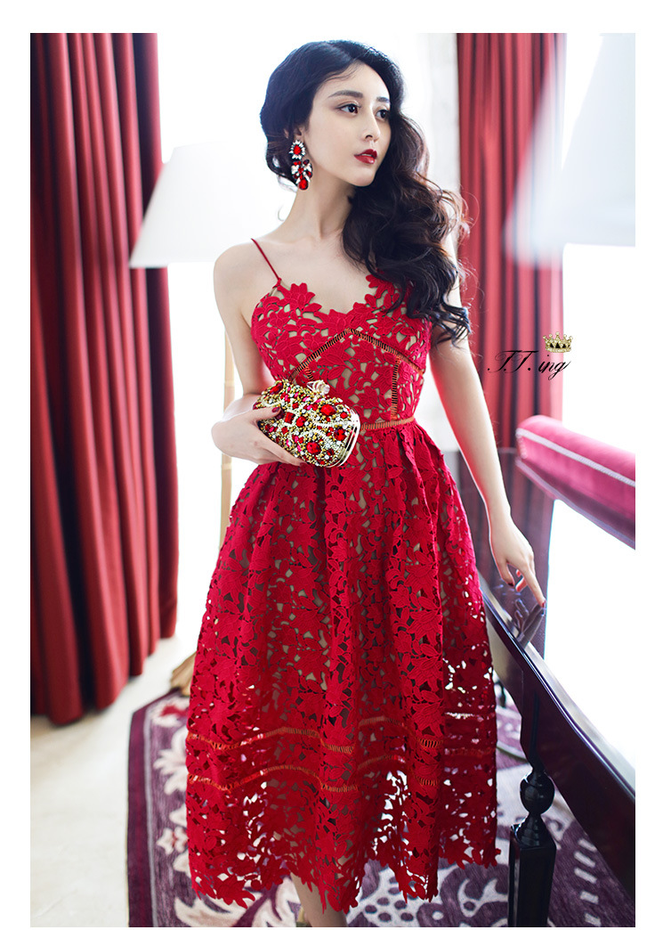 368bafd5bab2 Europe and America Lady Hollow Suspenders Red white Dress Palace Lace  Summer Bohemia Sexy The Beach Dress Lolita Retro V Neck-in Dresses from  Women's ...