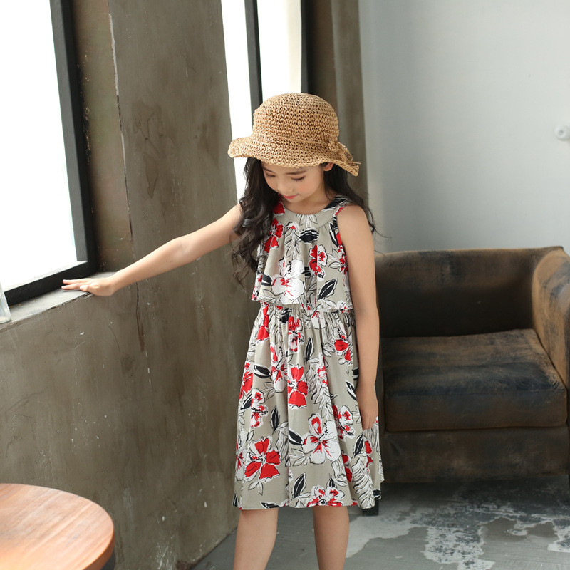 new fashion sleeveless print floral 2018 dresses girls summer kids dress baby little girl party a line dress children clothing
