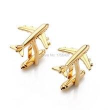 Мужские запонки в виде самолета золотого и серебряного цвета