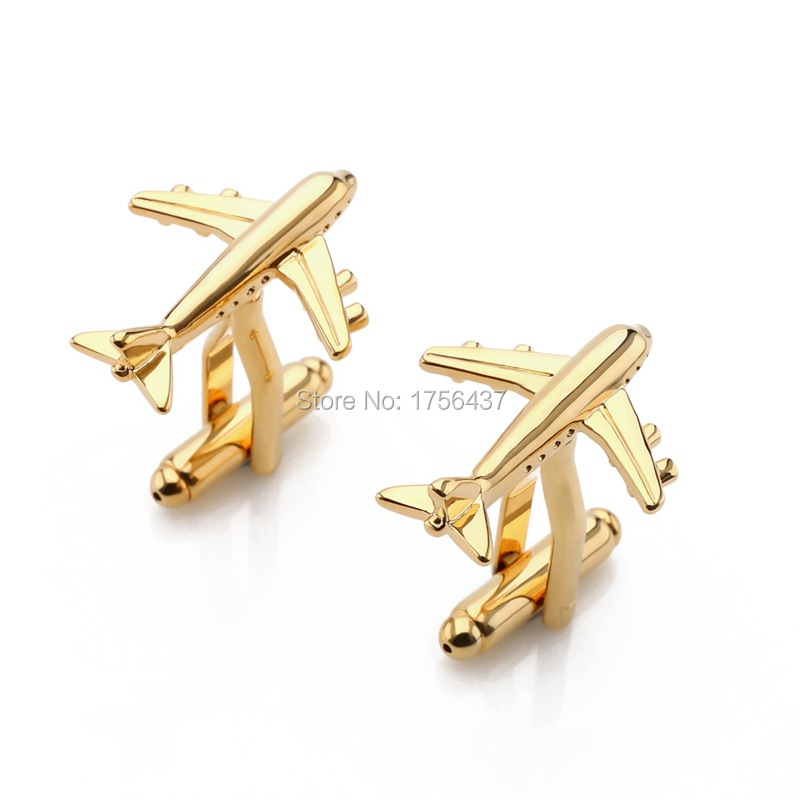 Lepton Brand Plane Cufflinks For Mens Gold & Silver Color Fashion Airplan Men Shirt Cuffs Cuff Links Formal Business Wedding