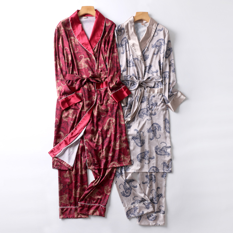 Two-Pieces Silk Nightgown Satin Male Sleepwear Loose Animal Silky Long Sleeve Robe And Long Pants Bathrobe Set For Men