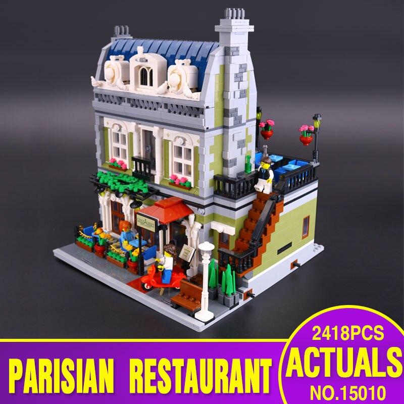 DHL font b Lepin b font 15010 Creator Expert City Street Parisian Restaurant Model Building Kits