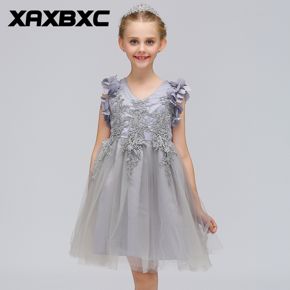 L-570 Gray Lace Princess Dresses Kids Prom Gown Evening Dresss Wedding Party Dress Girls Clothes Tulle Children's Costume teenage girl party dress children 2016 summer flower lace princess dress junior girls celebration prom gown dresses kids clothes