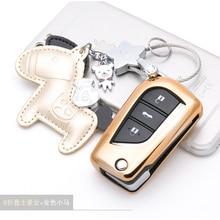 TPU conjunto titular fob tampa do caso shell chave do carro para Toyota Corolla Prado RAV4 Fortuner folding virar Remoto Proteger acessórios