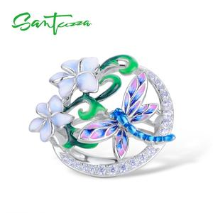 Image 2 - SANTUZZA Silver Ring For Women Pure 925 Sterling Silver Delicate Dragonfly Flower Cubic Zirconia Fashion Jewelry Handmade Enamel