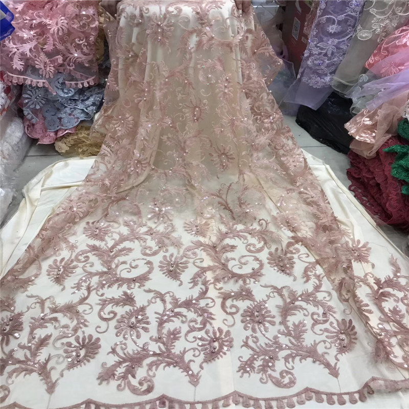 Yellow Color Nigerian lace fabric with beads 3d flower embroidered lace appliques french tulle lace fabric for dress HX1176 2 in Lace from Home Garden