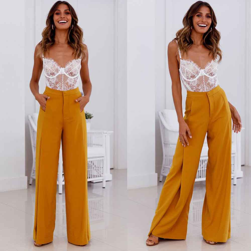 Fashion 2019 Spring Summer Women   Wide     Leg     Pants   Casual Solid Flare   Pants   Loose Fashion High Waist Trousers