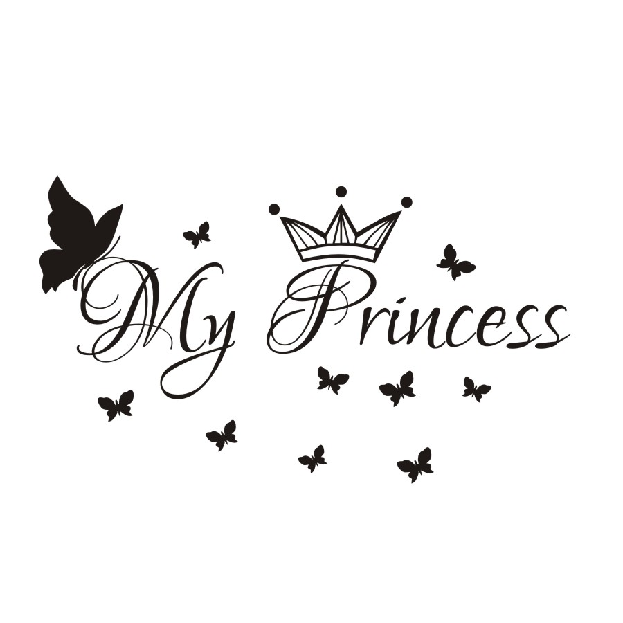 My Princess Butterflies Wall Sticker Removable Vinyl Art Wall Decals Baby Room DIY Wallpaper Home Dcor