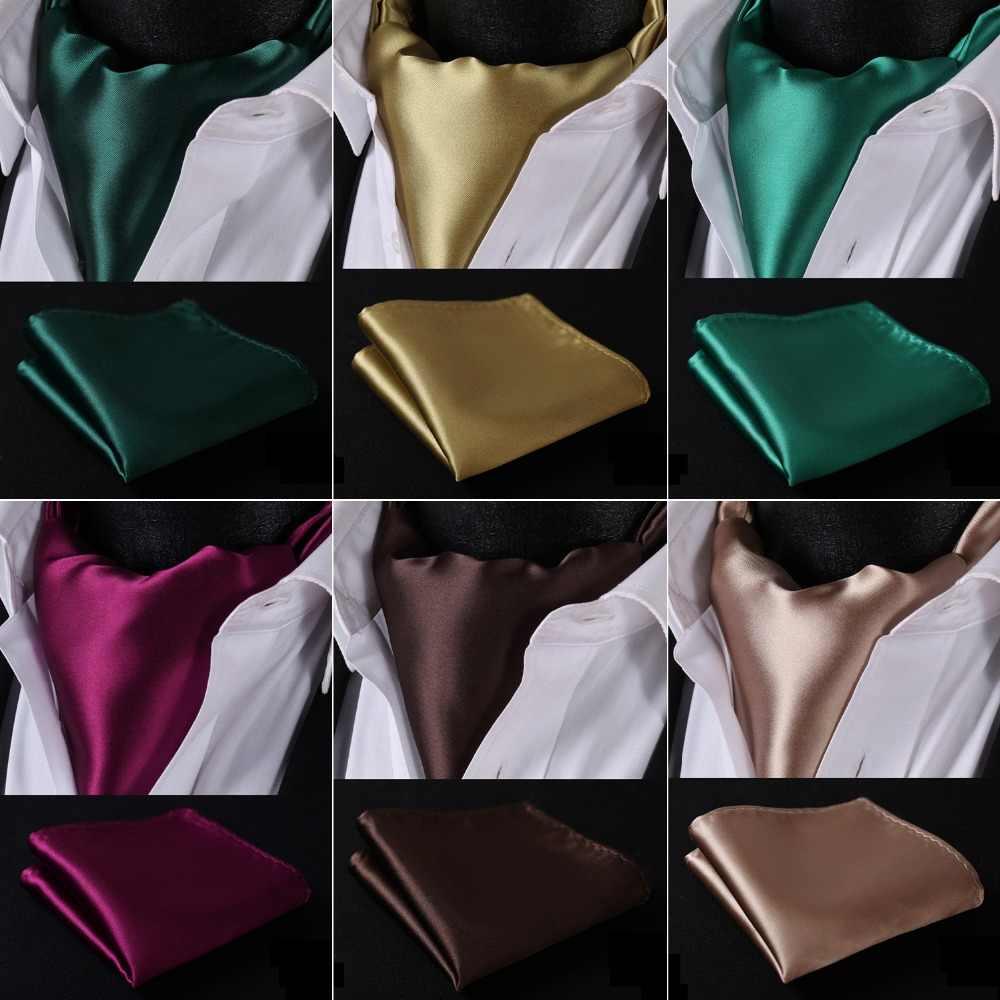 5b06973cdd750 Men Silk Cravat Party Classic Pocket Square Wedding Solid Color Ascot Tie  Handkerchief Set #S2