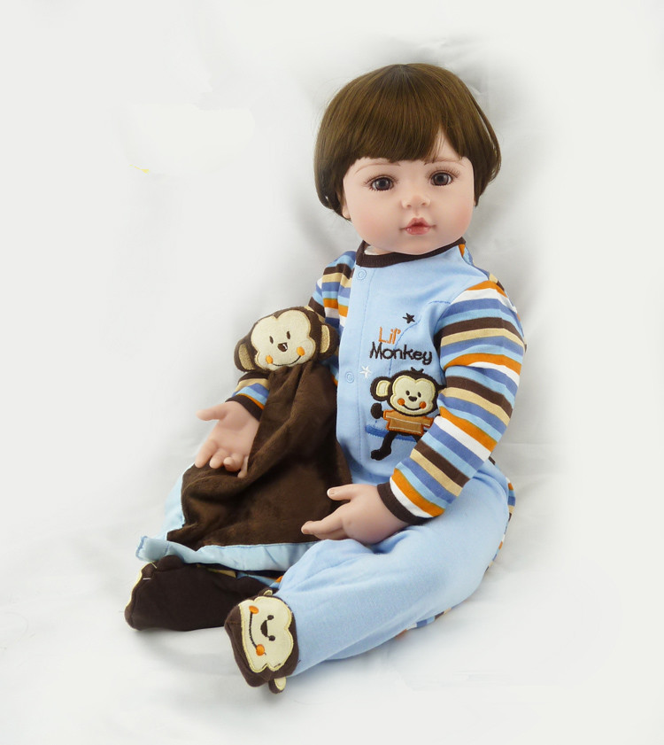 55cm New Silicone Reborn Baby Doll Toys For Kid Child Lovely Boy Babies Dolls Birthday Present Christmas Gift Girls Brinquedos 2017 new silicone reborn dolls for girls poupee reborn cotton body baby alive brinquedos baby doll toys lovely cartoon gift