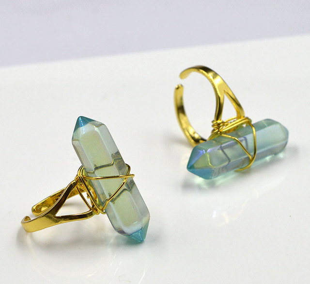 Gold Wire Wrapped Rings | Ya1904 Titanium Glass Point Gold Wire Wrapped Ring Adjustable 32x8mm