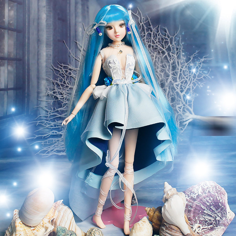 Fortune Days MMGirl 12 constellation Aquarius like BJD Blyth doll 1/6 30cm 14 joint body blue dress fantasy toy gift