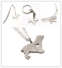 Cocker Spaniel dog necklace charm heart cute pet i love dogs charm pendant necklace bangle keyring bookmark