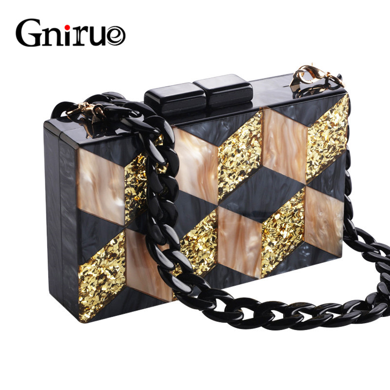 New Black Acrylic Bags Glitter Women Messenger Bags Geometric Patterns Clutches Patchwork Evening Bag Party Prom HandbagsNew Black Acrylic Bags Glitter Women Messenger Bags Geometric Patterns Clutches Patchwork Evening Bag Party Prom Handbags