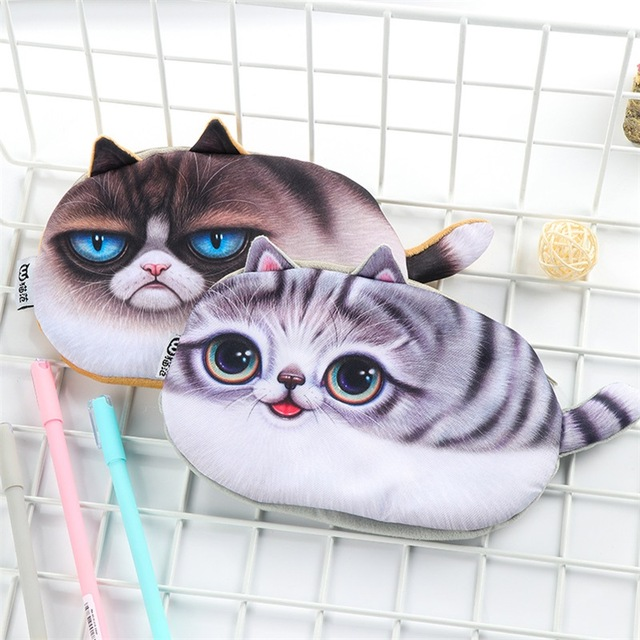 NEW Kawaii Pencil Case Novelty cat flannel School Supplies Bts Stationery Gift Estuches School Cute Pencil Box Pencil Bag
